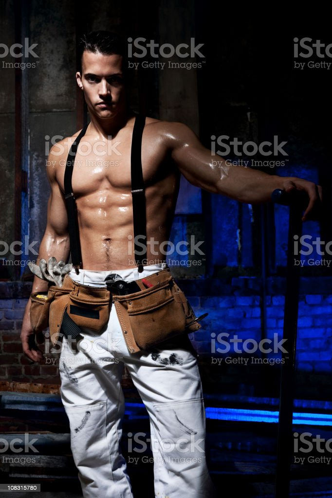 Buff, Handsome Sweaty Construction Worker with Six Pack, Copy Space stock photo