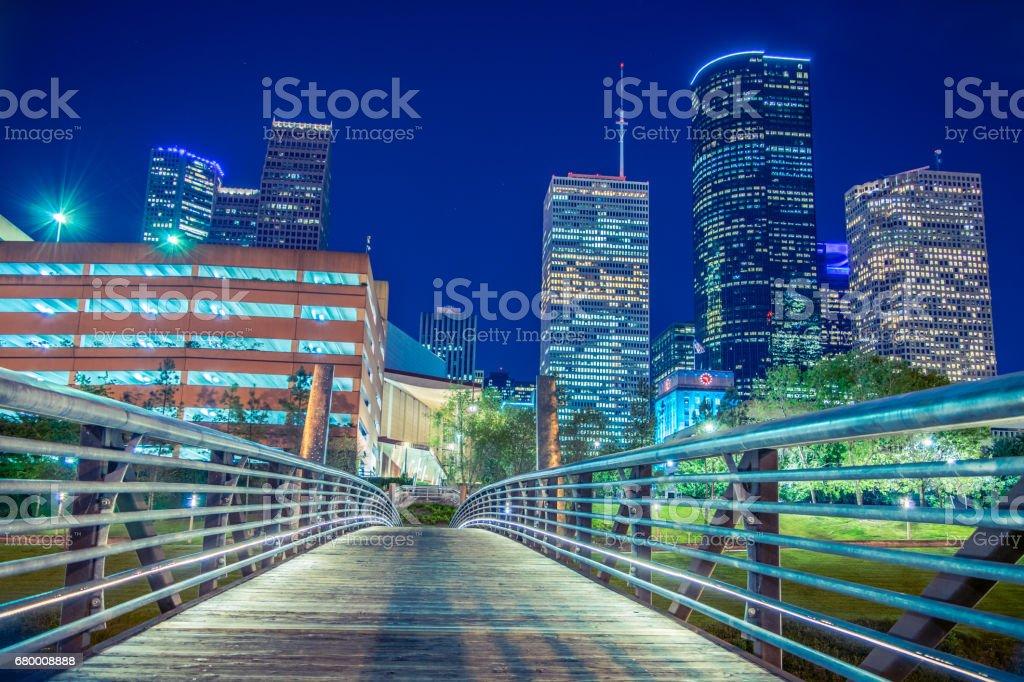 Buffalo Bayou City Walk at Night stock photo