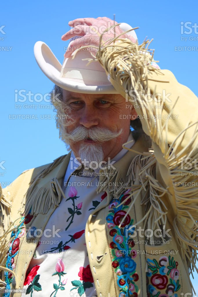 Buffalo Bill Battle of Little Big Horn Custer Last Stand Historical reenactment mountain man stock photo