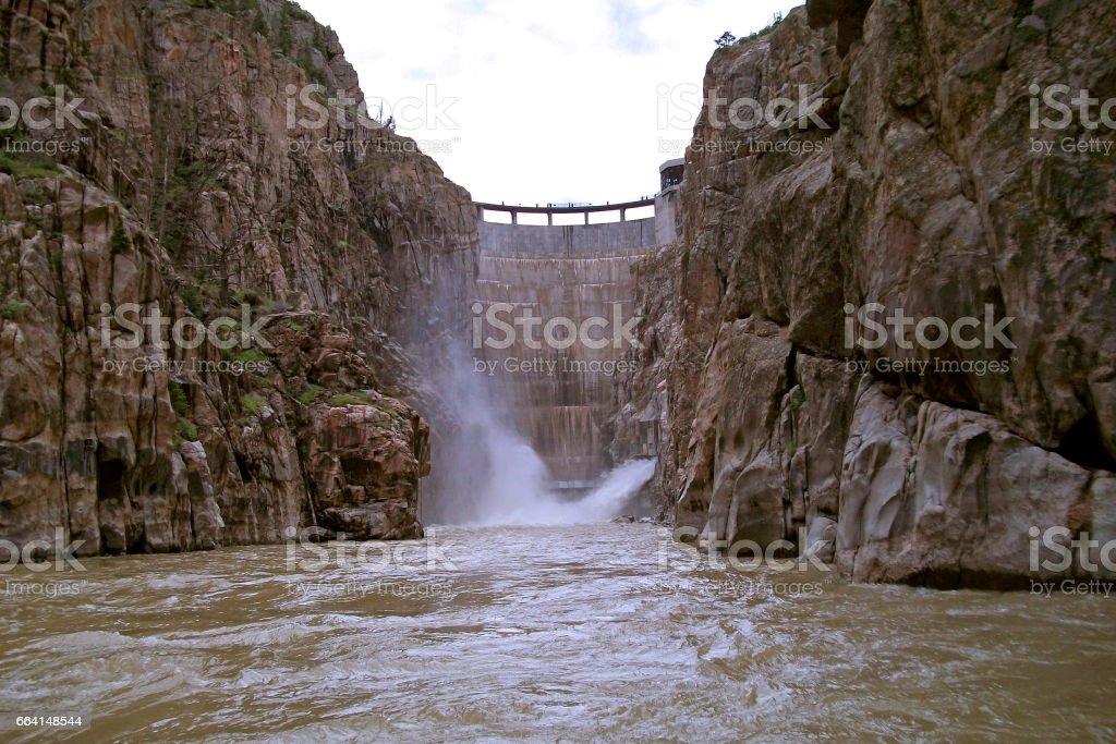 Buffalo Bill Dam is almost full in Cody, Wyoming, USA stock photo