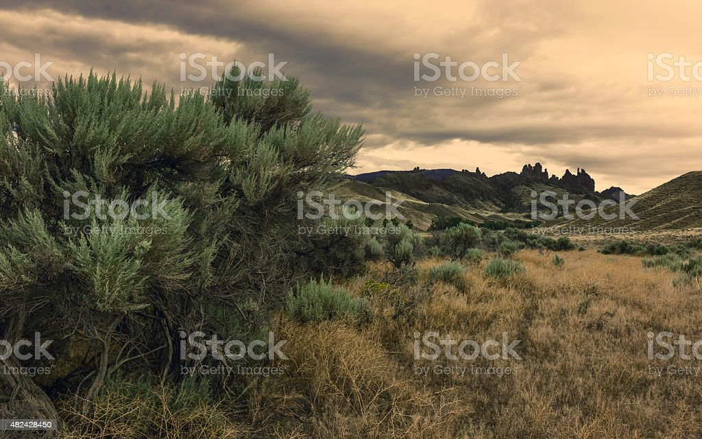 Buffalo Bill State Park at dusk, Cody, Wyoming, USA. stock photo
