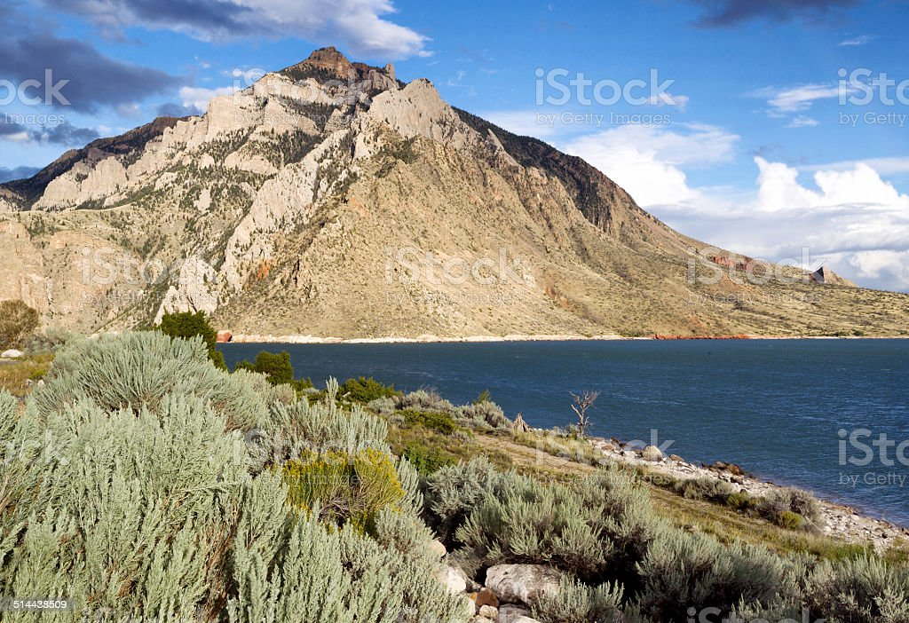 Buffalo Bill State Park with Lake and Mountains stock photo