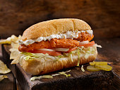 Buffalo Chicken Strip Sub with Blue Cheese Dressing