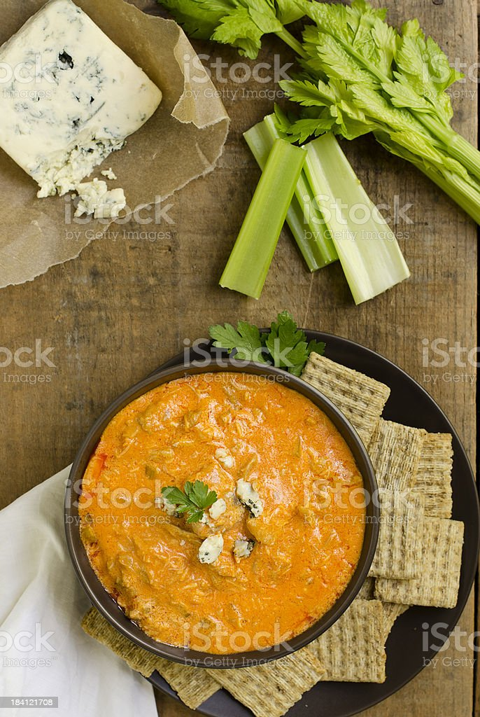 Buffalo Chicken Wing Dip from Above stock photo