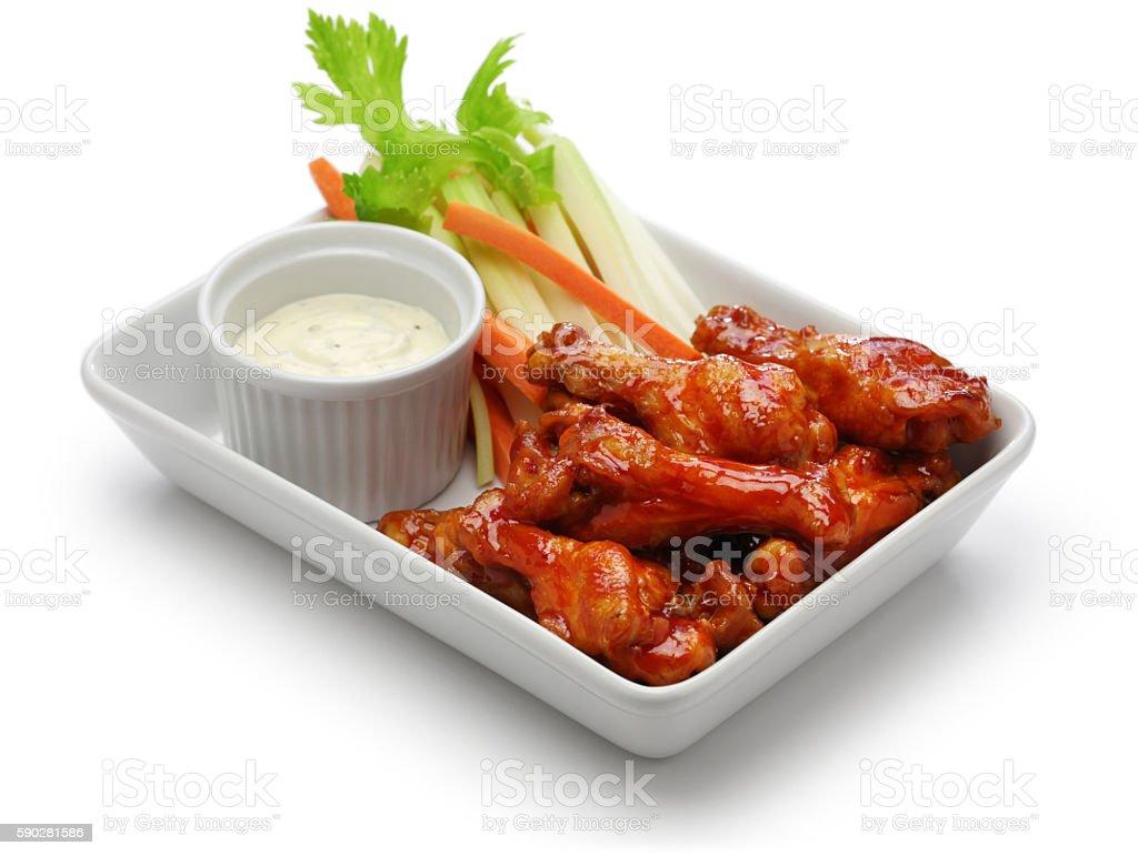 buffalo chicken wings, american food stock photo