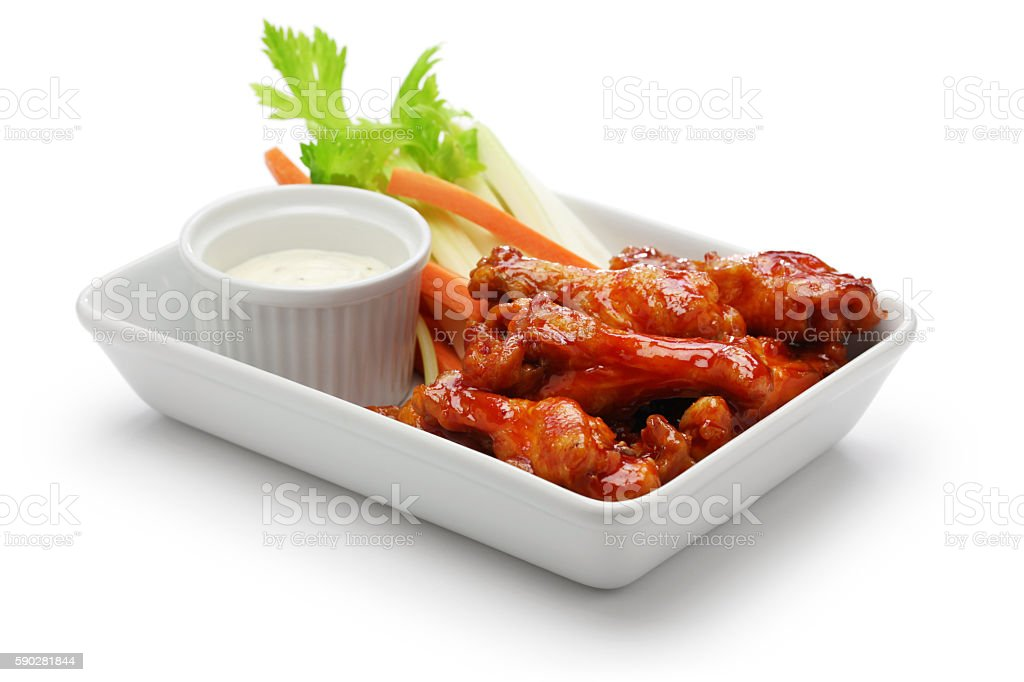 buffalo chicken wings, american food stock photo