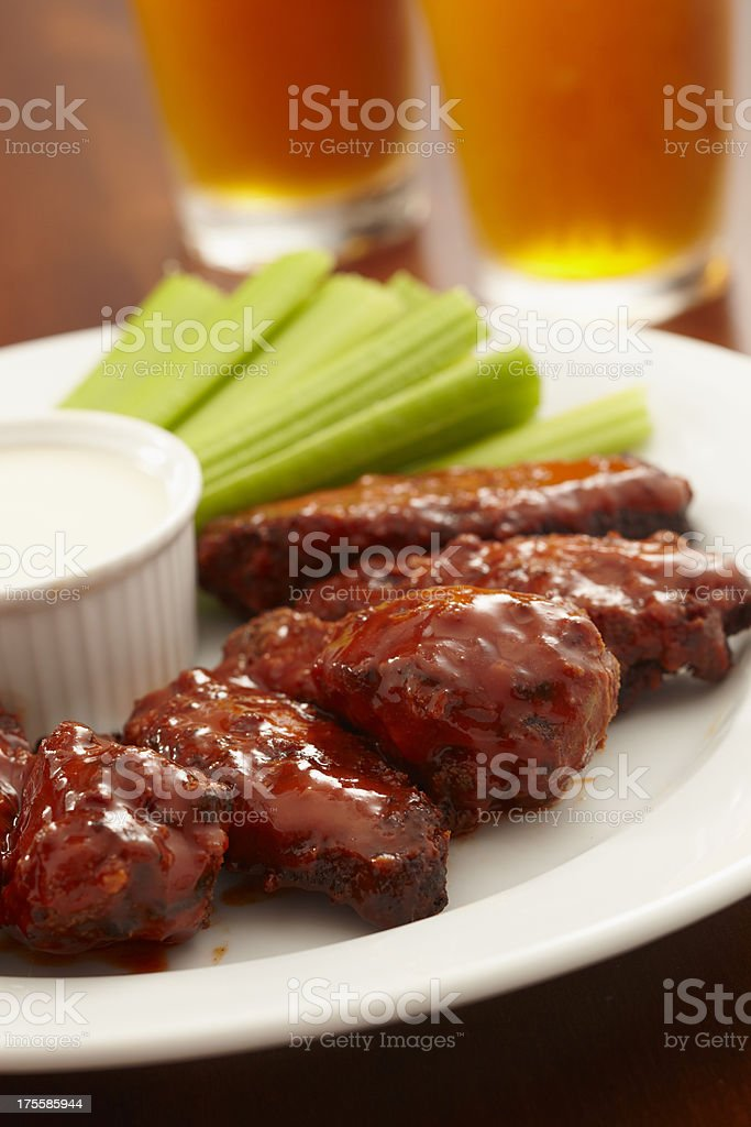 Buffalo Chicken Wings and Beer stock photo