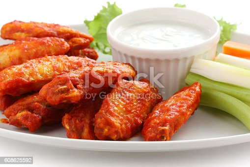 istock buffalo chicken wings with blue cheese dip 608625592