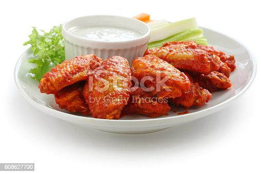 istock buffalo chicken wings with blue cheese dip 608627700