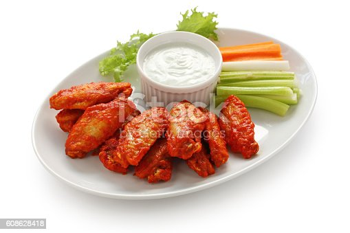 istock buffalo chicken wings with blue cheese dip 608628418