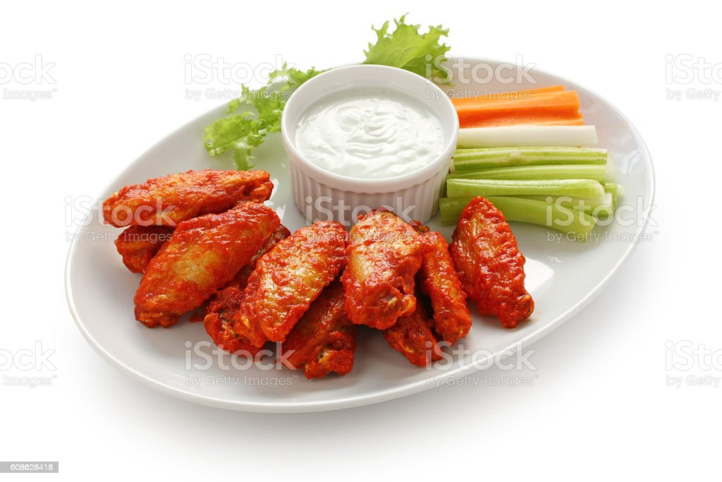 buffalo chicken wings with blue cheese dip stock photo