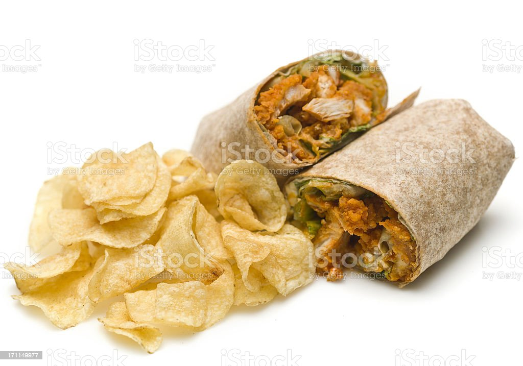 buffalo chicken wrap and chips stock photo