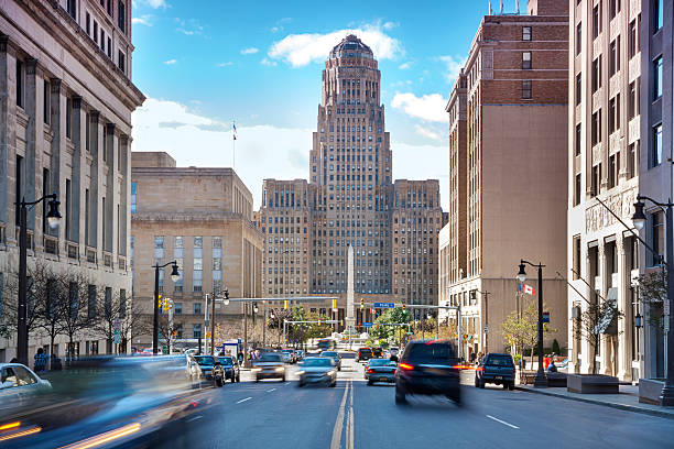 Buffalo City Hall and its surrounding. Buffalo is the second most populous city in the state of New York, behind New York City. town hall stock pictures, royalty-free photos & images