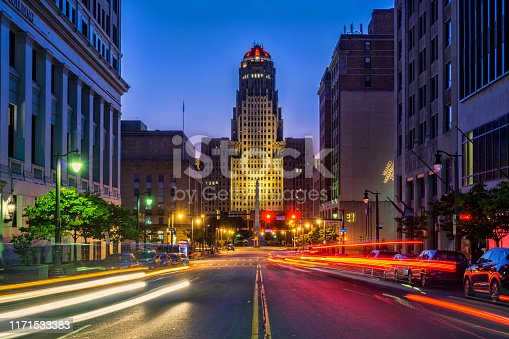 Looking down Court Street to City Hall in Buffalo, New York
