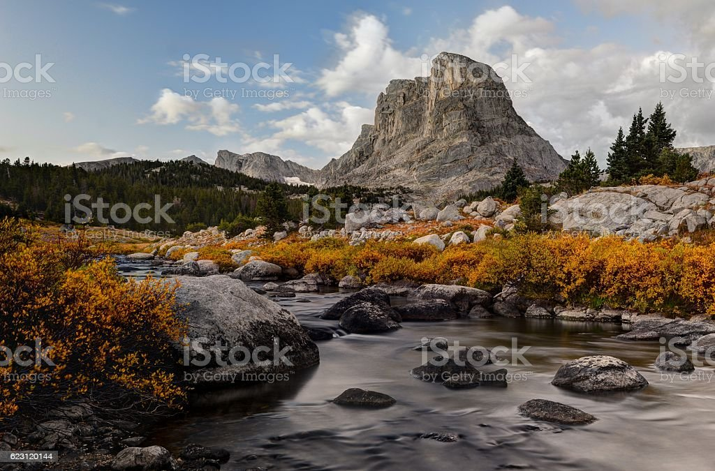 Buffalo Head and the Little Wind River stock photo