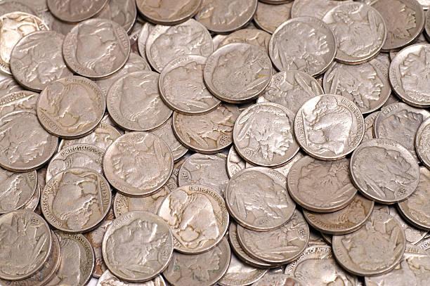 Buffalo head nickels stock photo
