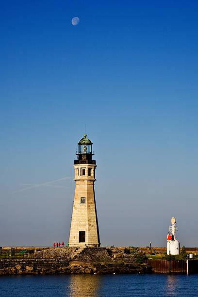 Buffalo Main Lighthouse on Lake Erie stock photo