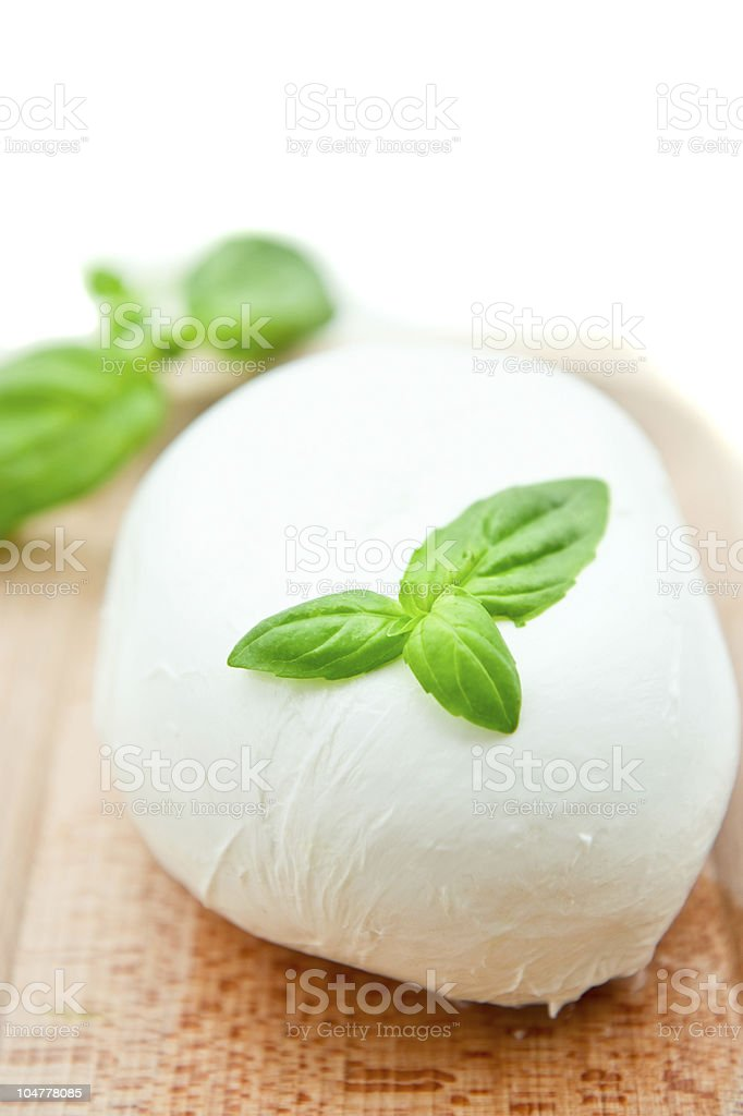 Buffalo mozzarella with basil stock photo