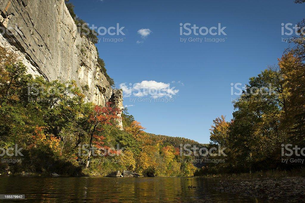 Buffalo National River bluffs fall stock photo