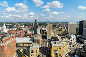 Aerial view of downtown Buffalo, New York on summer day.