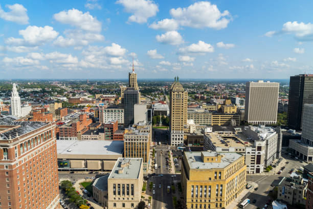 Buffalo, New York Aerial View Downtown stock photo