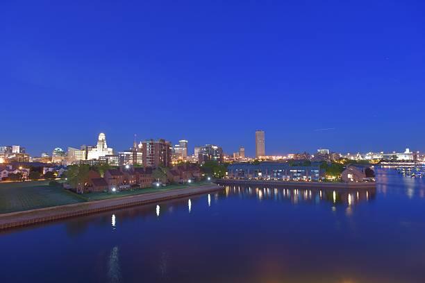 Buffalo Night Skyline stock photo
