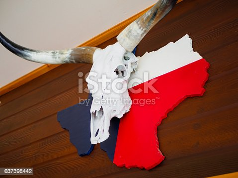 istock Buffalo skull with longhorn put on Texas map paint 637398442
