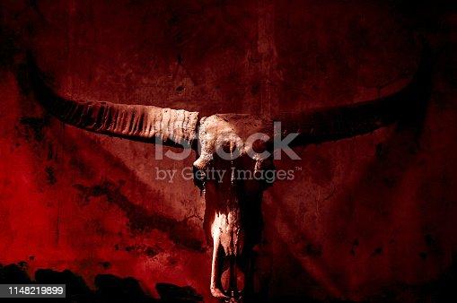 1151385192 istock photo Buffalo skull with mystic symbol on dark red background 1148219899