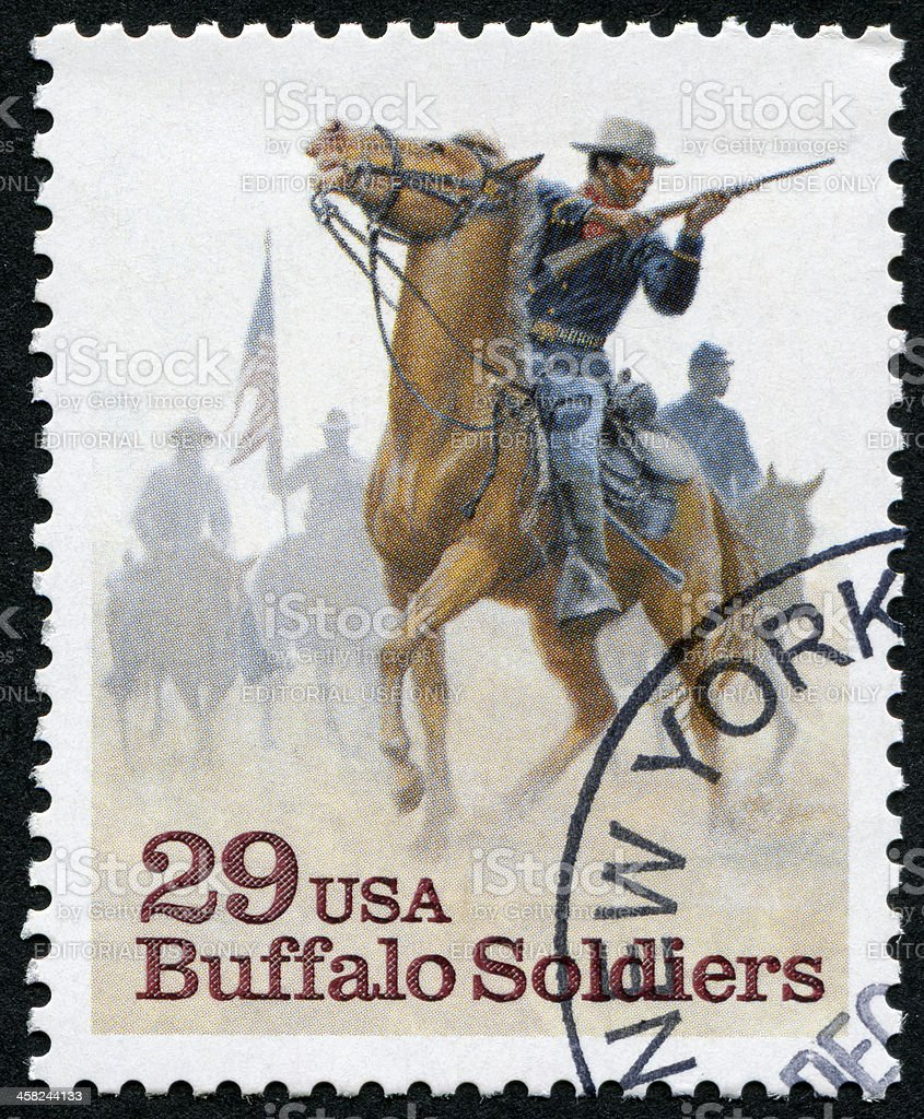 Buffalo Soldiers Stamp stock photo