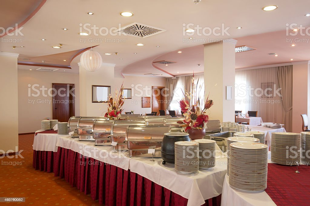 Buffet and catering table stock photo