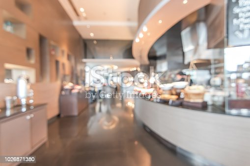 886308526istockphoto Buffet at hotel restaurant interior blur background with blurry open kitchen counter bar of food catering service business with chef staff cooking for breakfast, lunch or dinner meal 1026871380