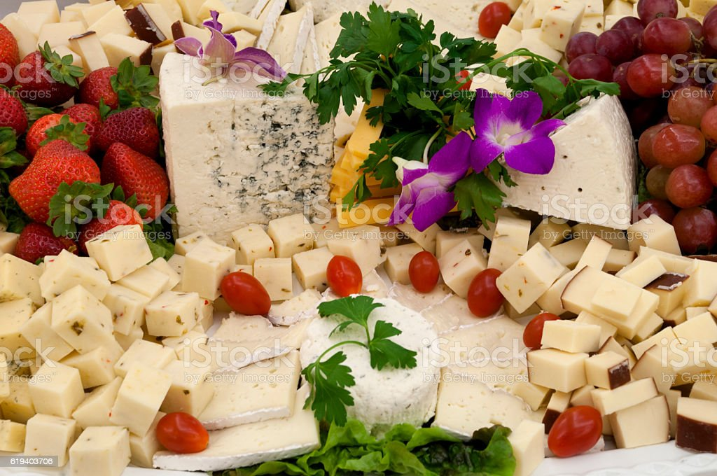 Buffet cheese selection stock photo