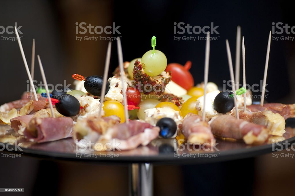 buffet fingerfood on black background royalty-free stock photo