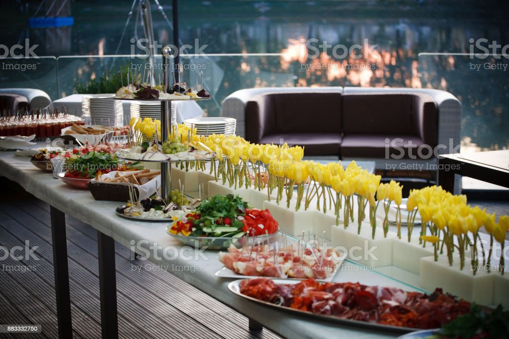 Buffet line of lunch and dinner.Buffet self-service food stock photo