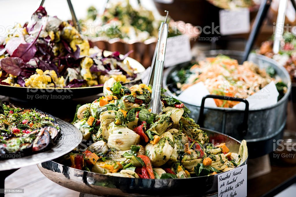 Buffet of assorted fresh salads royalty-free stock photo