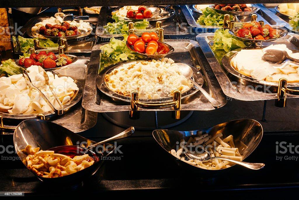 buffet, organic food and drink photo stock photo