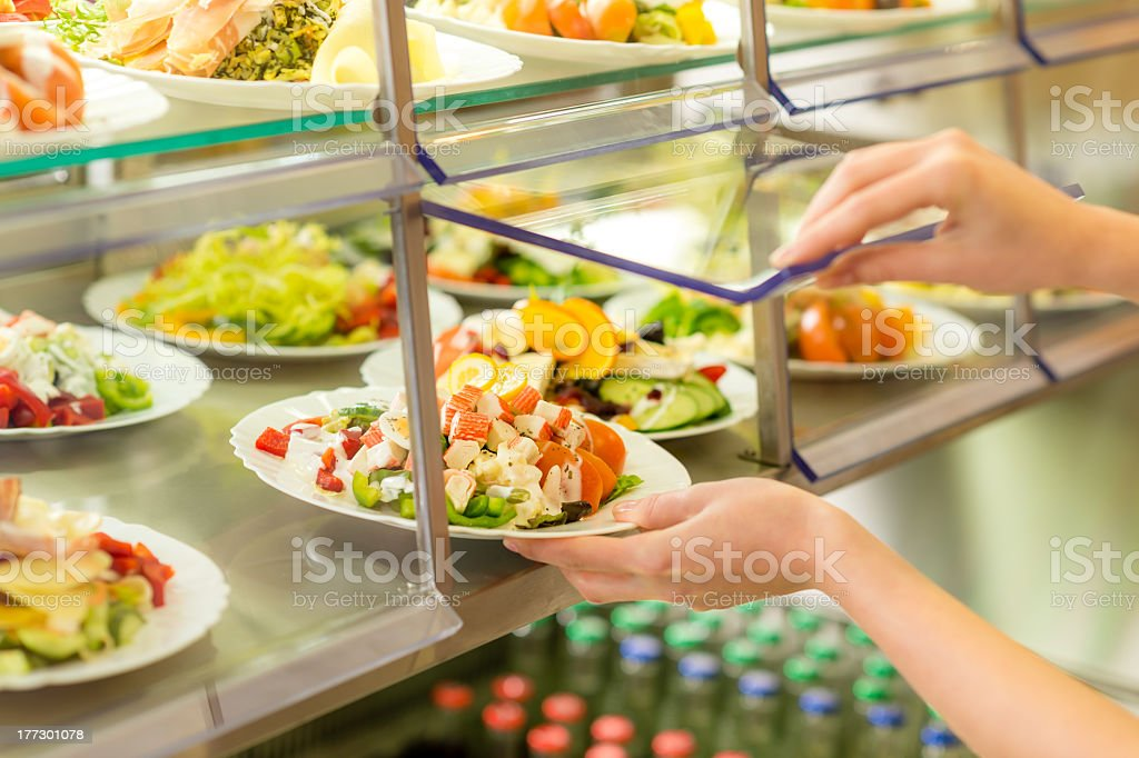 Buffet self service canteen display fresh salad stock photo
