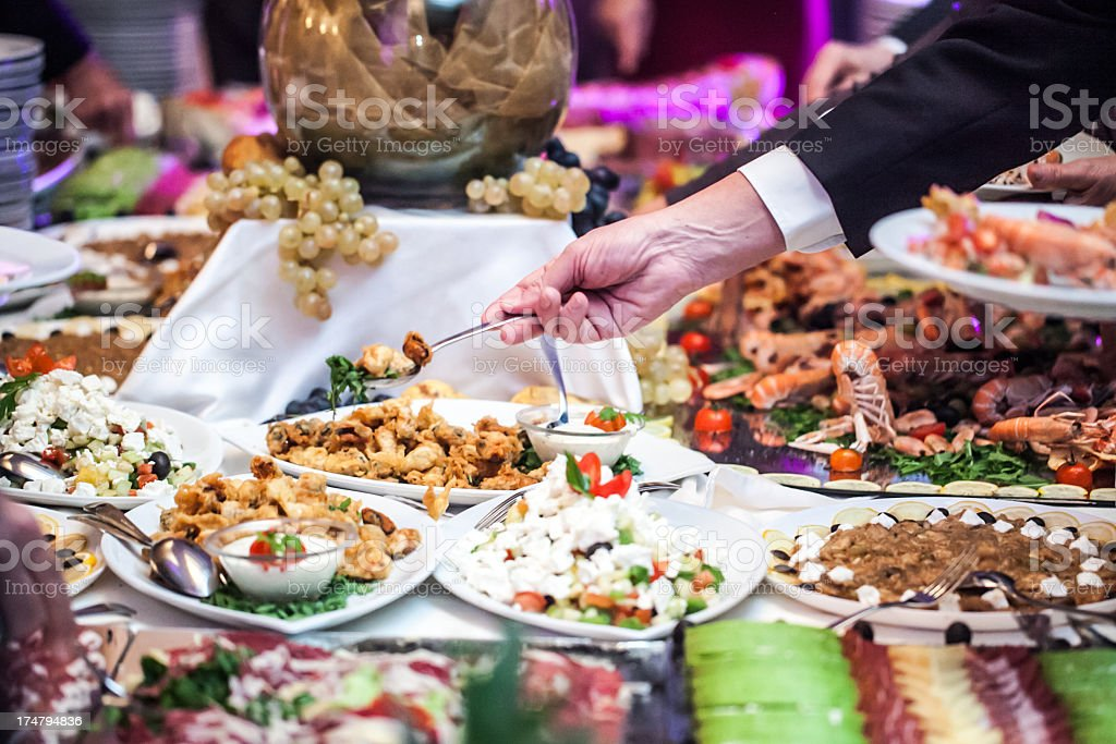 Buffet table at a restaurant royalty-free stock photo