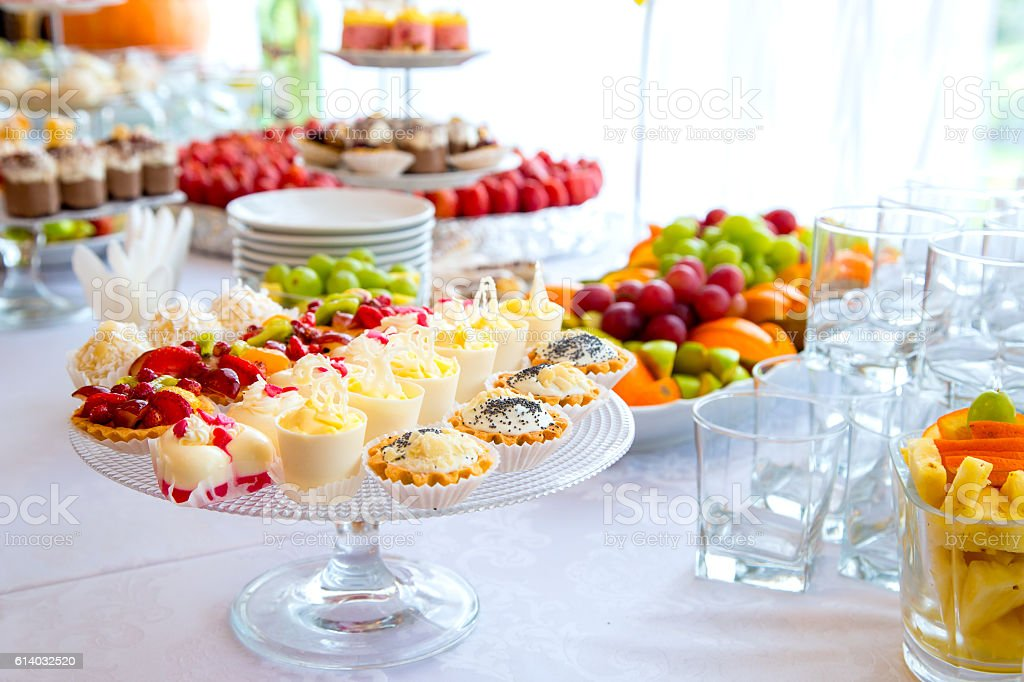 buffet table corporate stock photo