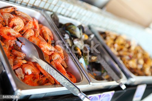istock Buffet table with seafood, shrimps and  mussels 545090180