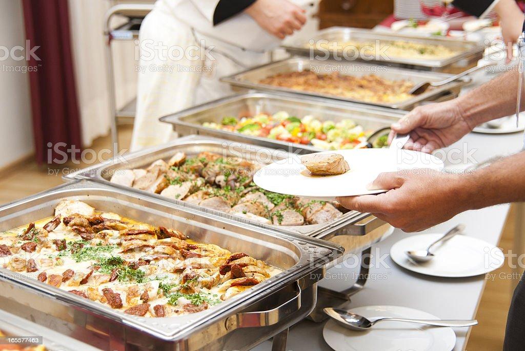 buffet Schrägansicht view-Fleisch oder geschnetzelte Zutaten - Lizenzfrei Büfett Stock-Foto