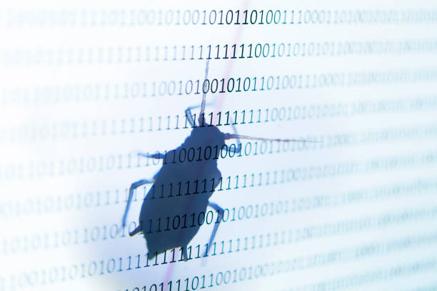 bug on binary screen with one and zero bug on binary screen with one and zero computer bug stock pictures, royalty-free photos & images