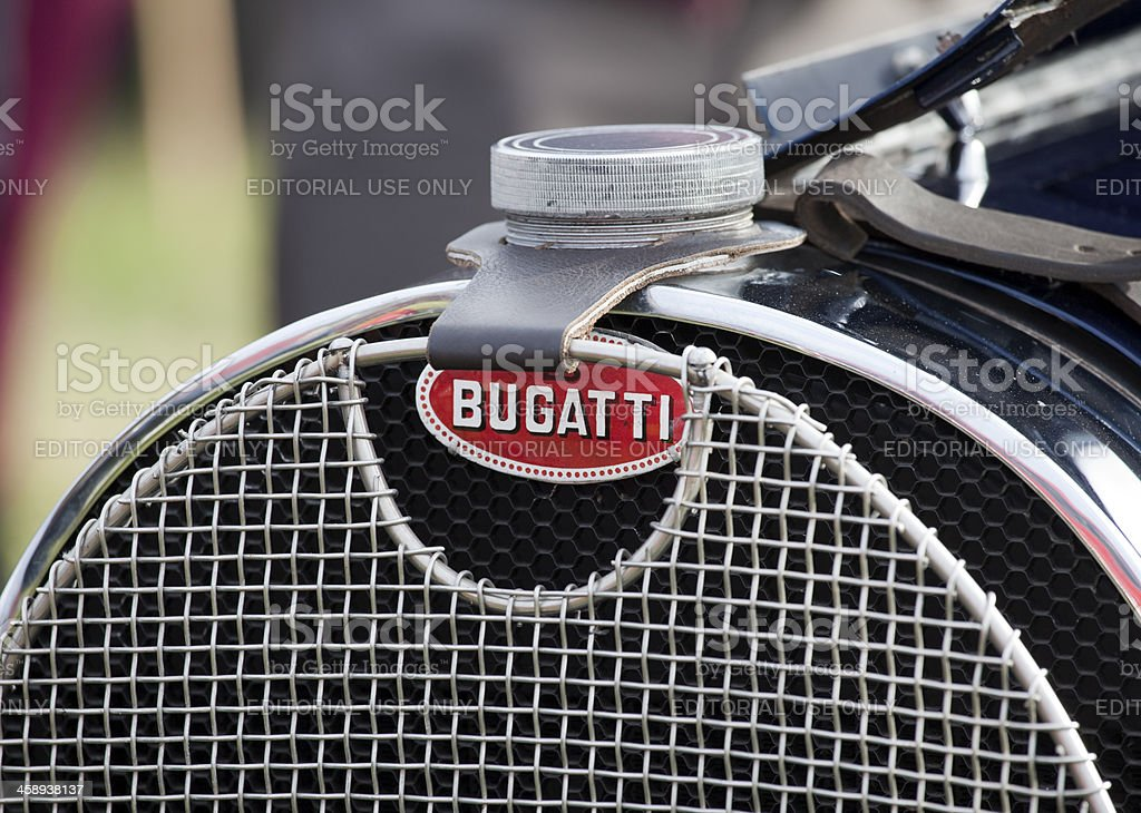 bugatti emblem on the radiator of a vintage car stock photo more