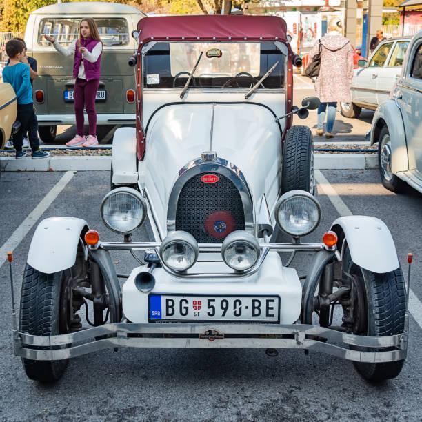 Bugatti oldtimer vintage 1920s race car. stock photo