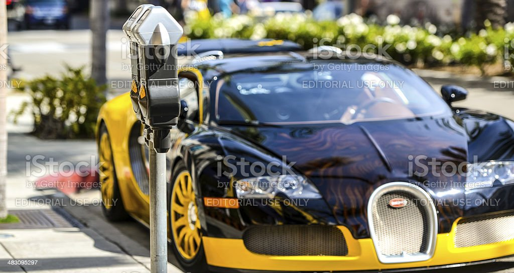 Bugatti parked on Rodeo Drive, Beverly Hills, USA stock photo