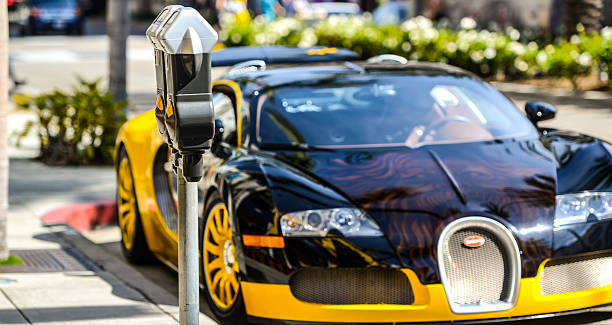 Bugatti parked on Rodeo Drive, Beverly Hills, USA stock photo