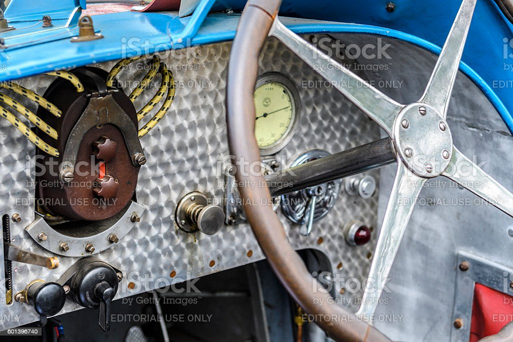 Bugatti Type 35 vintage race car dashboard detail stock photo