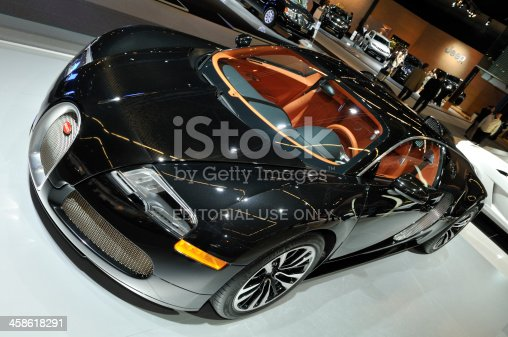Amsterdam, The Netherlands - April 12, 2011: BlackBugatti Veyron Sang Noir  on display at the 2011 Amsterdam AutoRAI motorshow. The 2011 Amsterdam motorshow was running from April 12 until April 23, in the RAI event center in Amsterdam, The Netherlands.