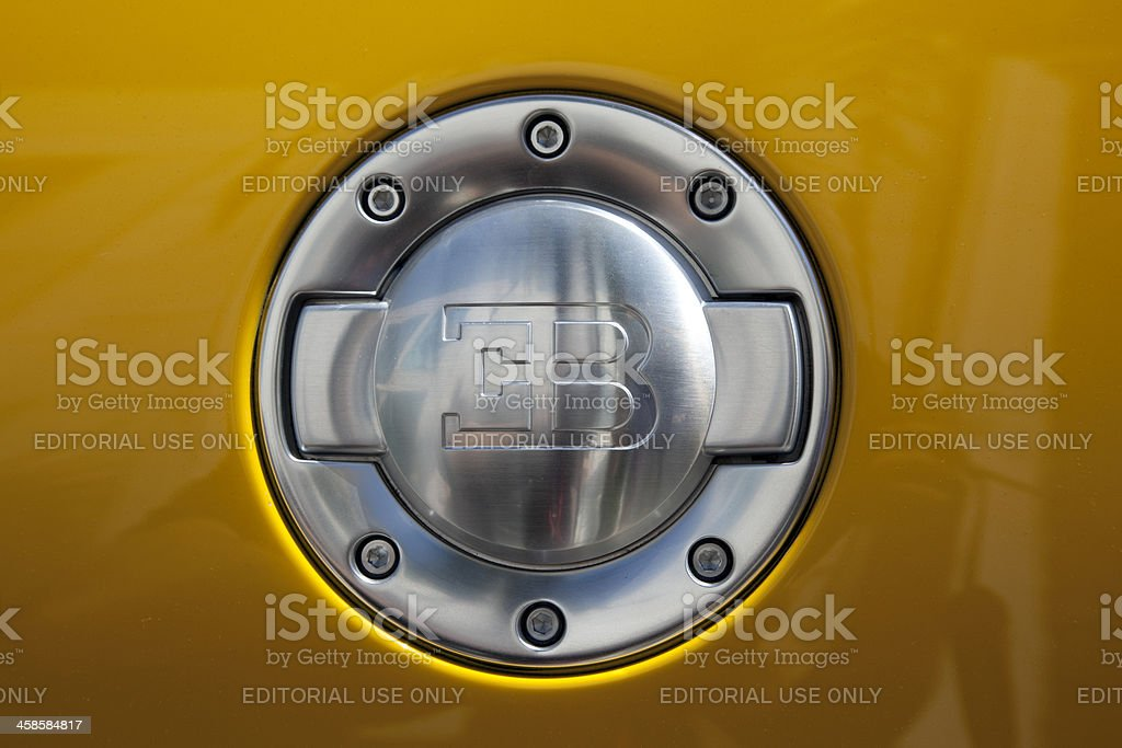 Bugatti Veyron gas lid stock photo
