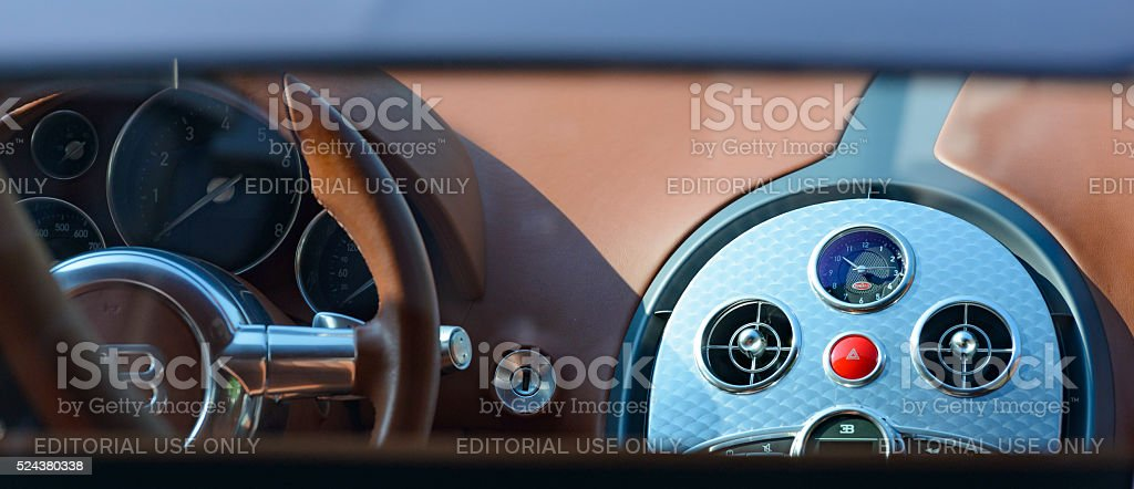 Bugatti Veyron interior detail stock photo